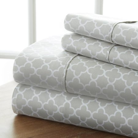 Noble Linens Ultra Soft Quatrefoil Bed Sheet Set, 4 Piece