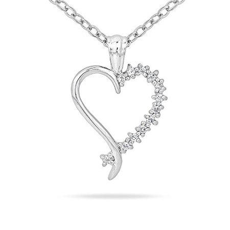 Genuine Rhodium Plated Heart Pendant with Petite Round Cut Accents