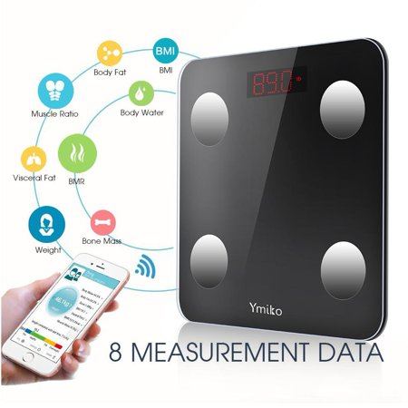 Bluetooth Body Fat Scale -Smart Digital Body Weight Bathroom Scale with IOS and Android App BMI Scale for Body Weight, Body Fat, Water, Muscle Mass, BMI, BMR, Bone Mass and Visceral Fat (Bathroom Scale With Bmi)
