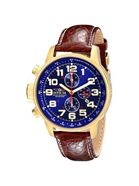 Invicta Men's 3329 Force Collection Lefty Blue Dial Brown Leather Watch