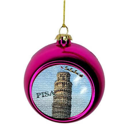 Christmas In Italy Crossword.Santa Klaus And Sleigh Riding Over The Leaning Tower Of Pisa In The Daylight Mosaic Print Italy Bauble Christmas Ornaments Pink Bauble Tree Xmas Balls