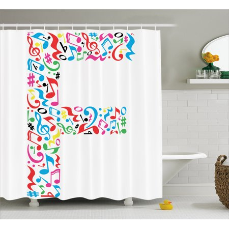 Letter F Shower Curtain  Letter F Alphabet With Vibrant Music Notes Harmony Song Design Abc Graphic Print  Fabric Bathroom Set With Hooks  69W X 75L Inches Long  Multicolor  By Ambesonne