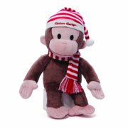 "gund curious george plush in christmas red and white striped hat, 14"" tall"