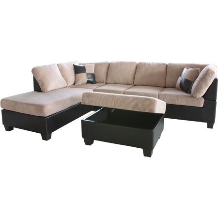 Admirable Taylor Sectional Sofa And Ottoman Light Brown Box 2 Of 3 Beatyapartments Chair Design Images Beatyapartmentscom