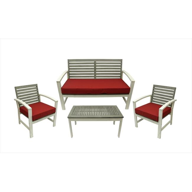 NorthLight 4 Pieces Gray And White Acacia Wood Outdoor Patio Table And Chair Furniture Set - Red Cushions
