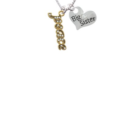Gold Tone Script Peace With Clear Crystals Big Sister Heart Necklace  18  2