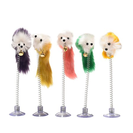 Feather Funny Cat Mice Shape False Mouse Pet Products Bottom Sucker Elastic - image 4 of 6