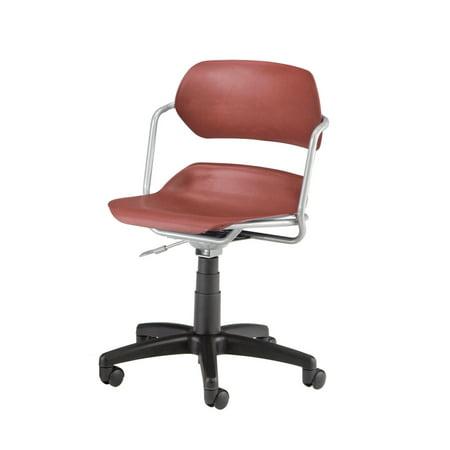 Slvr Series - 200-SLVR-WINE Office Furniture 250 lb Capacity Martisa Series SILVER tubular steel frame Armrest Swivel WINE SEAT Plastic Chair