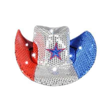 Adult's Patriotic July 4th Independence Light Up Cowboy Hat Costume Accessory (Cowboy Costume Accessories)