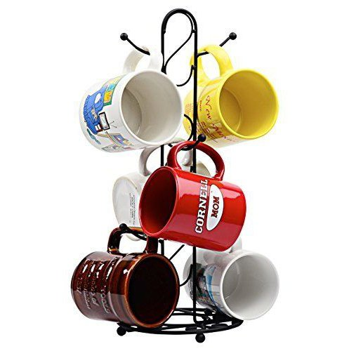 Metal Coffee Cup Holder Kitchen Coffee Mug Tree Countertop Tea Cups Holder Stand Black