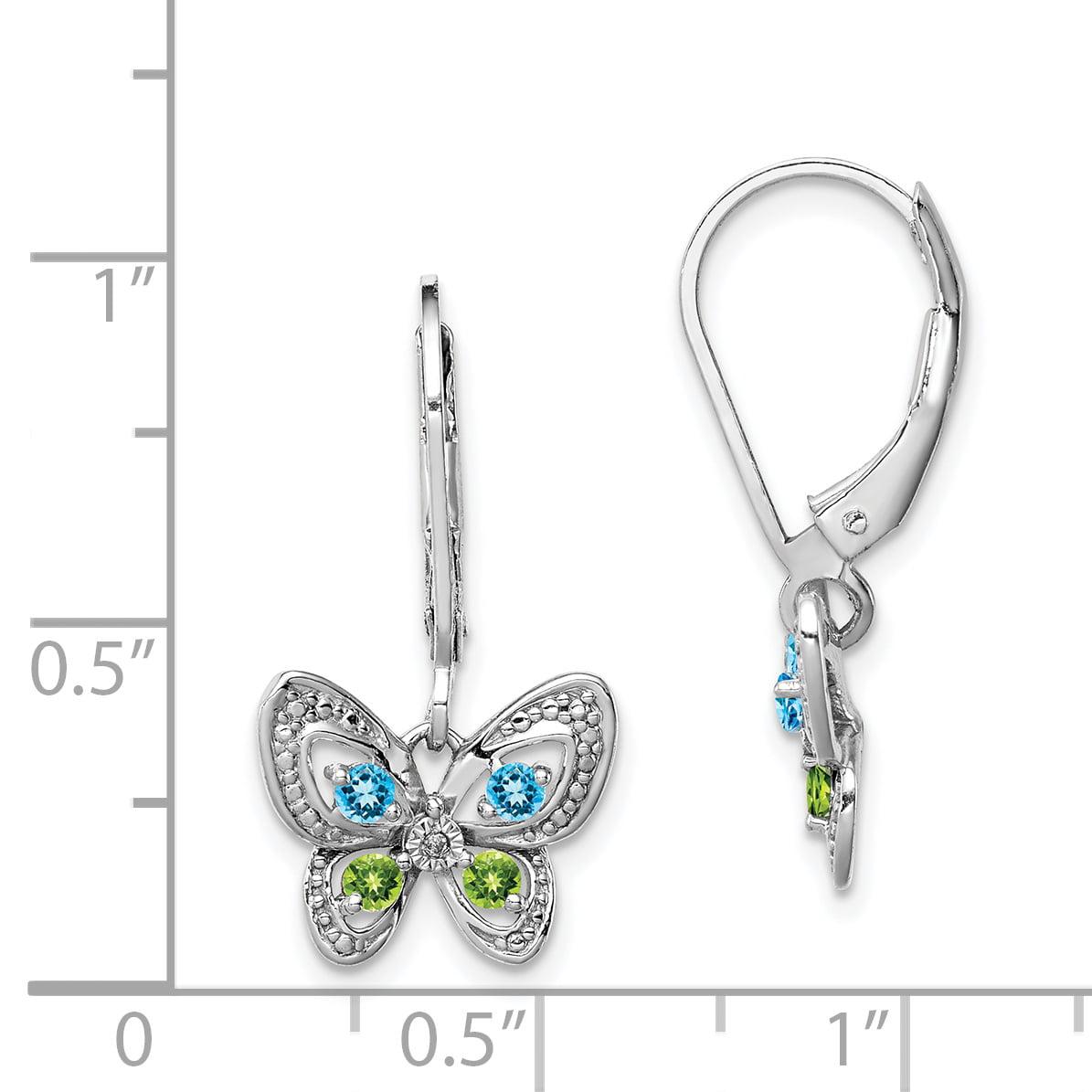 925 Sterling Silver Rhodium-plated Blue Topaz Peridot /& Diamond Butterfly Dangle Earrings