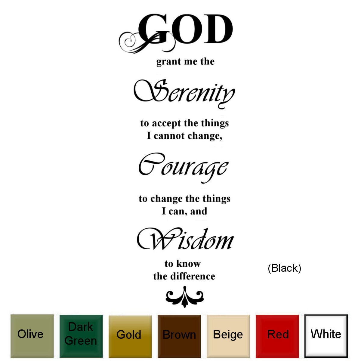 Decal the Walls God, Grant Me The Serenity..' Vinyl Wall Art Decal