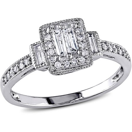 1/3 Carat T.W. Baguette and Round-Cut Diamond 10kt White Gold Engagement Ring