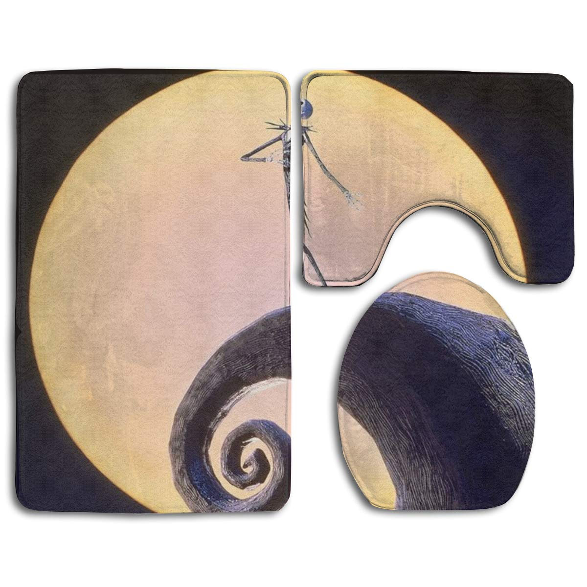 Erehome Nightmare Before Christmas 3 Piece Bathroom Rugs Set Bath Rug Contour Mat And Toilet Lid Cover