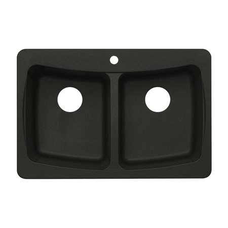 Astracast AS-AL20USSK Double Basin Drop In/Undermount Kitchen Sink - Metallic Black