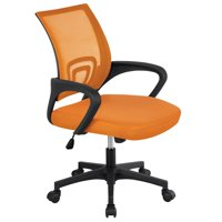 Height Ergonomic Mesh Office Chair Mid-back Rolling Chair Orange