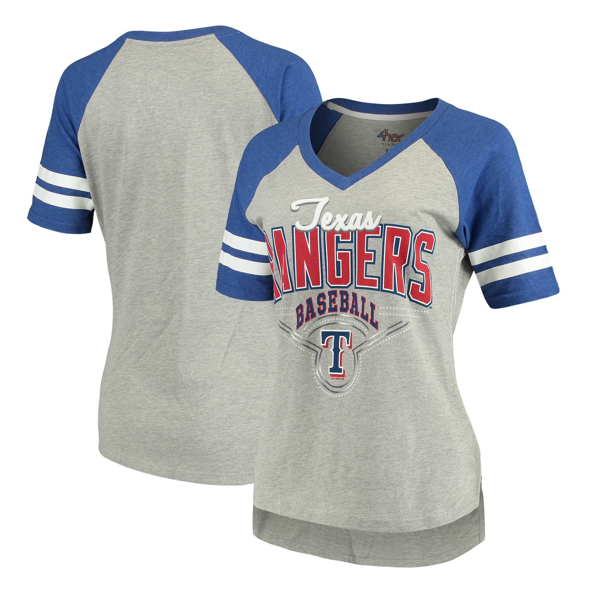 Texas Rangers G-III 4Her by Carl Banks Women's Goal Line T-Shirt - Heathered Gray/Royal