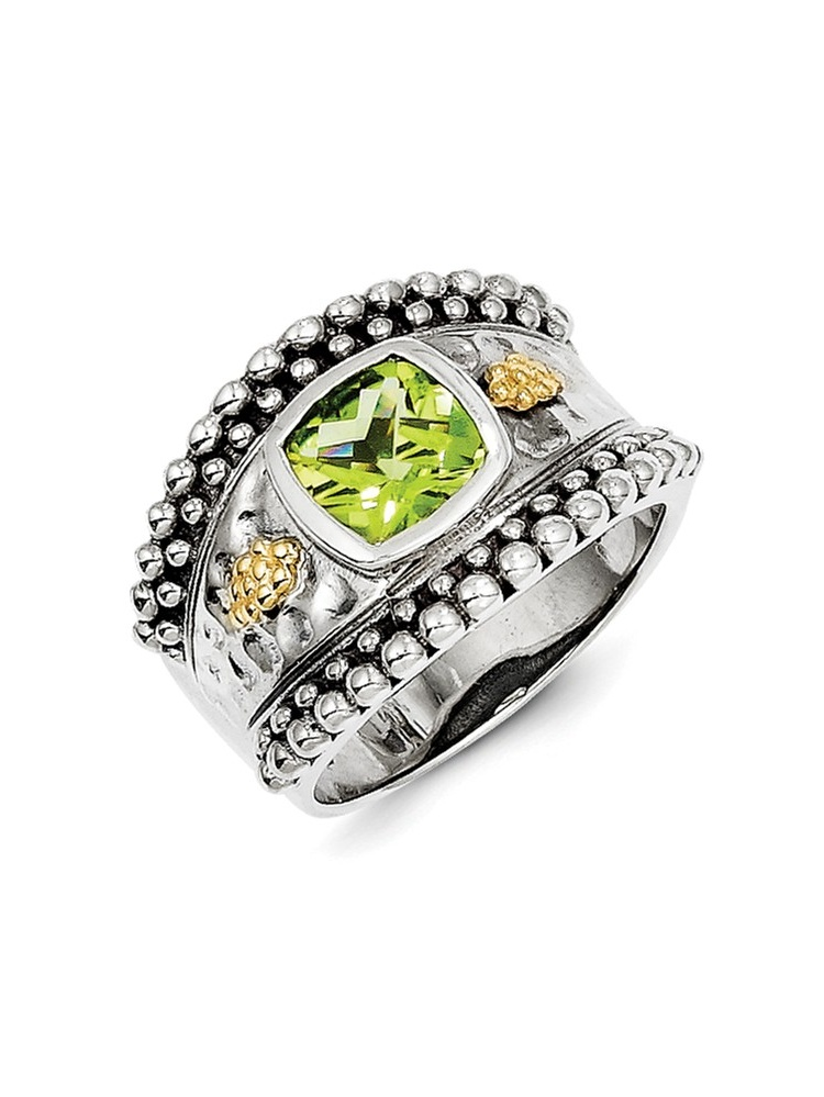 14K Yellow Gold with Peridot Ring Size-8 by