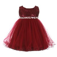 Baby Girls Burgundy Sequin Stone Lace Tulle Sleeveless Occasion Dress