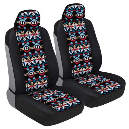 BDK Two Tone Pattern Car Seat Covers - Sideless Chic Style - Soft & Flexible Polyester (Aztec