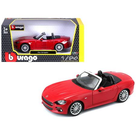 Fiat 124 Spider Coupe Red 1/24 Diecast Model Car by Bburago (Bburago 1 24)