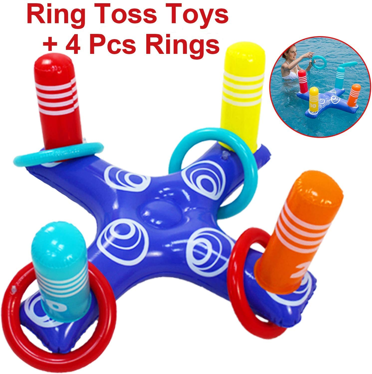 Adults and Family Outdoor Play Party Favors Multiplayer Summer Pool Games /& Beach Fun Toys with 6Pcs Rings H-Style Inflatable Pool Ring Toss Games Pool Toys for Kids
