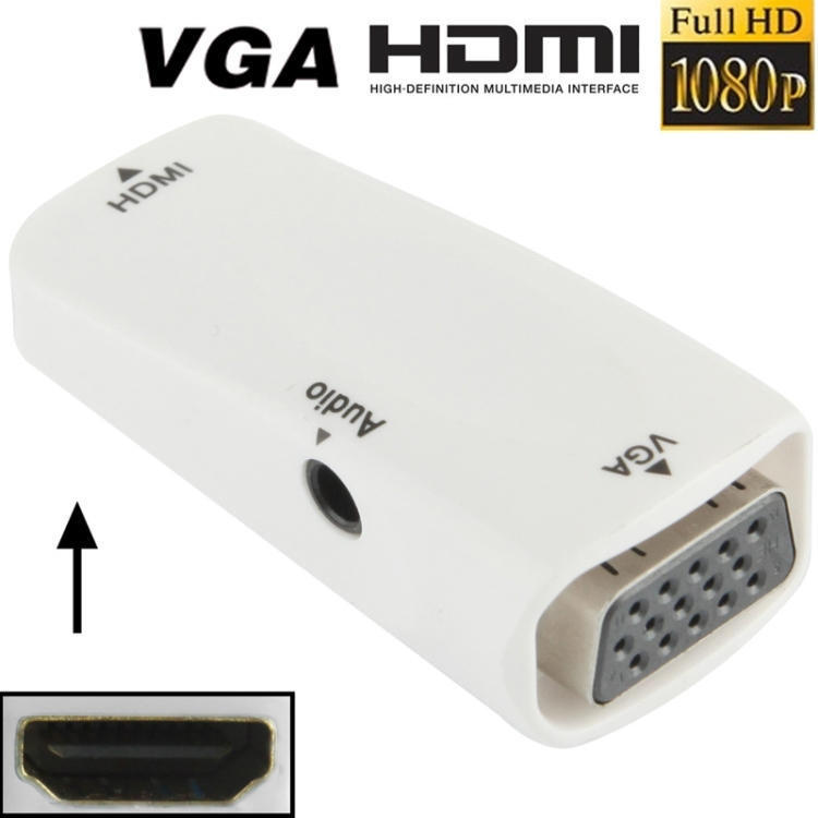 AMZER Full HD 1080P HDMI Female to VGA and Audio Adapter for HDTV, Monitor, Projector - White