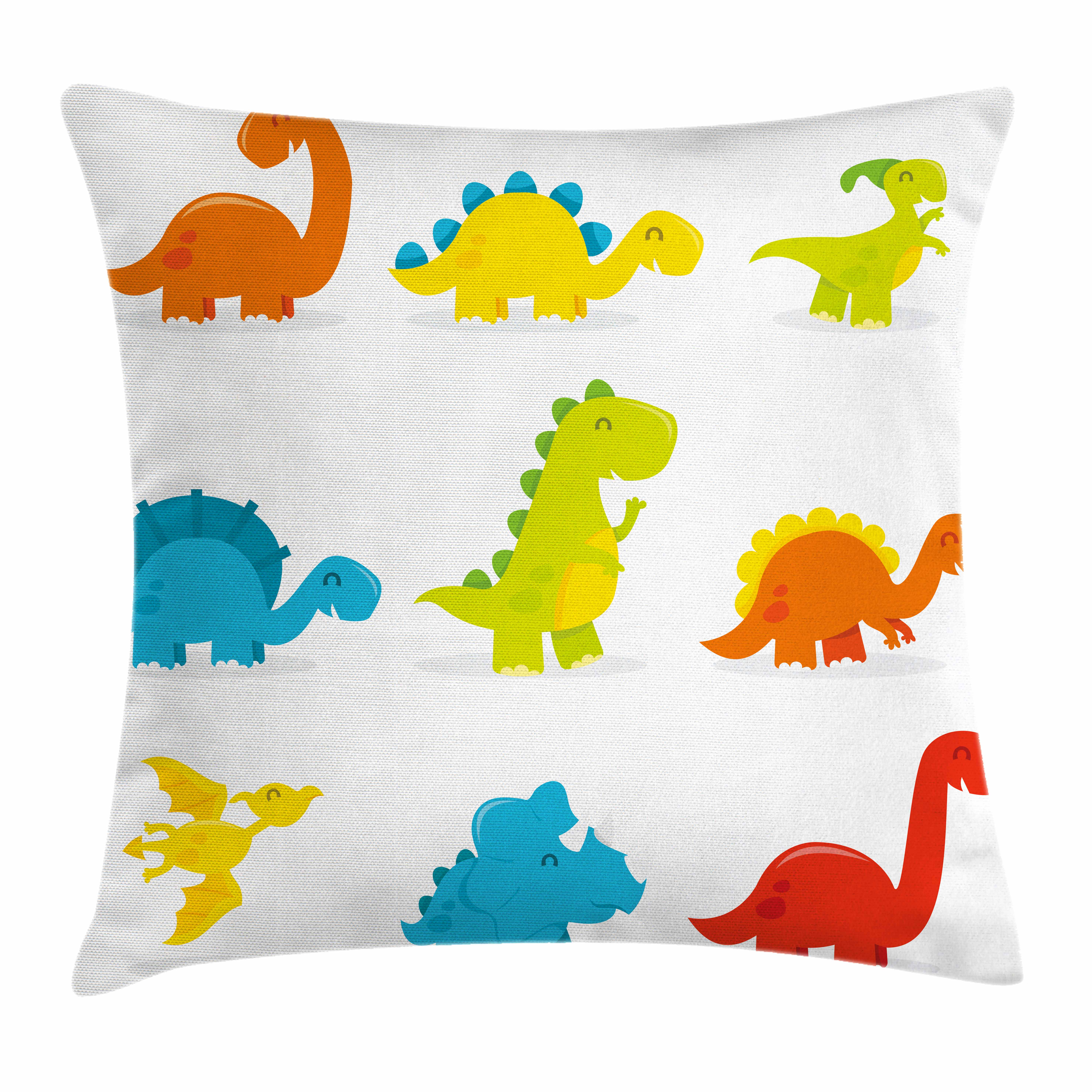 Dinosaur Throw Pillow Cushion Cover, Cute and Funny Dinosaurs Set Cartoon Style Colorful Collection Kids Nursery Theme, Decorative Square Accent Pillow Case, 16 X 16 Inches, Multicolor, by Ambesonne