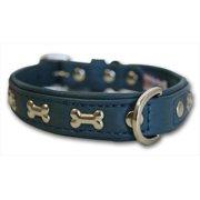 Angel Rotterdam Bones Ocean Blue Leather Dog Collar