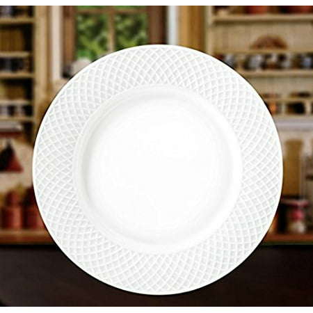 "Wilmax WL-880101, 10"" Julia Collection White Porcelain Round Dinner Plate, Classic European Bone China Serving Plates, Gift Box Set of 6"