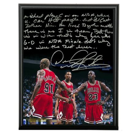 b2afd99c217 Chicago Bulls Dennis Rodman Facsimile Playing With Michael Jordan Metallic  8x10 Story Plaque - image 1 ...
