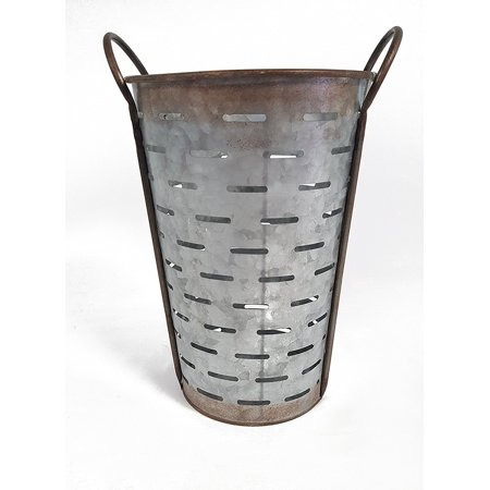 Rust Bucket - Galvanized Metal Olive Bucket, Medium, Features a vintage-style olive bucket basket with stationary handles, linear cut-outs, and rust details By Everydecor