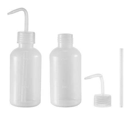 Plastic Wash Bottle Squeeze Bottle 250ml/8.5oz Narrow Mouth Lab Tip Liquid Storage Watering Tools 2 pcs