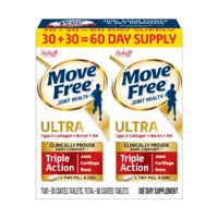 Move Free Ultra Triple Action (Twin Pack - 60 Tablets) Joint Health Supplement with Type II Collagen, Boron, and HA