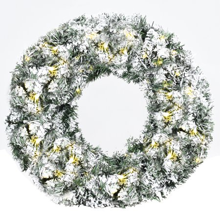 Costway 24'' Pre-Lit Artificial Snow Flocked Christmas Pine Wreath w/ 50 LED Lights Timer Christmas Wreath Pattern