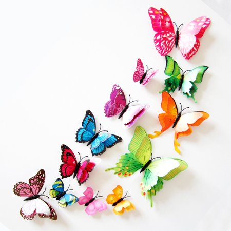 12Pcs 3D Butterfly wall decor DIY Mirror Wall Decals art Decals home Decoration