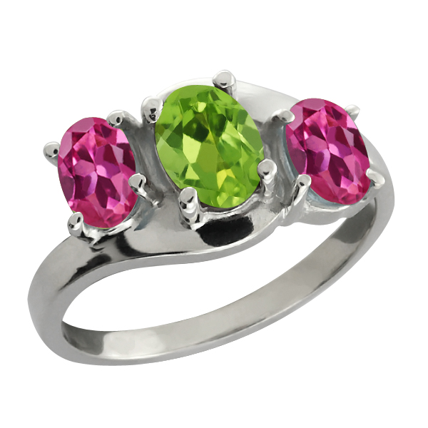 1.80 Ct Oval Green Peridot and Pink Tourmaline 14k White Gold Ring by