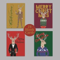 Funny Deer Blank Christmas Cards - 24 Modern Holiday Greeting Cards   Designed & Made in USA   24 Folded Cards + Envelopes
