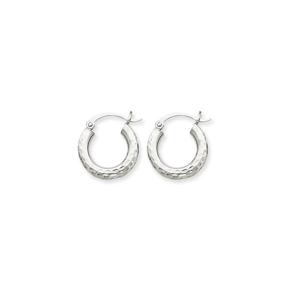10k White Gold D/C 3mm Round Hoop Earrings (10MM Long x 3MM Wide)