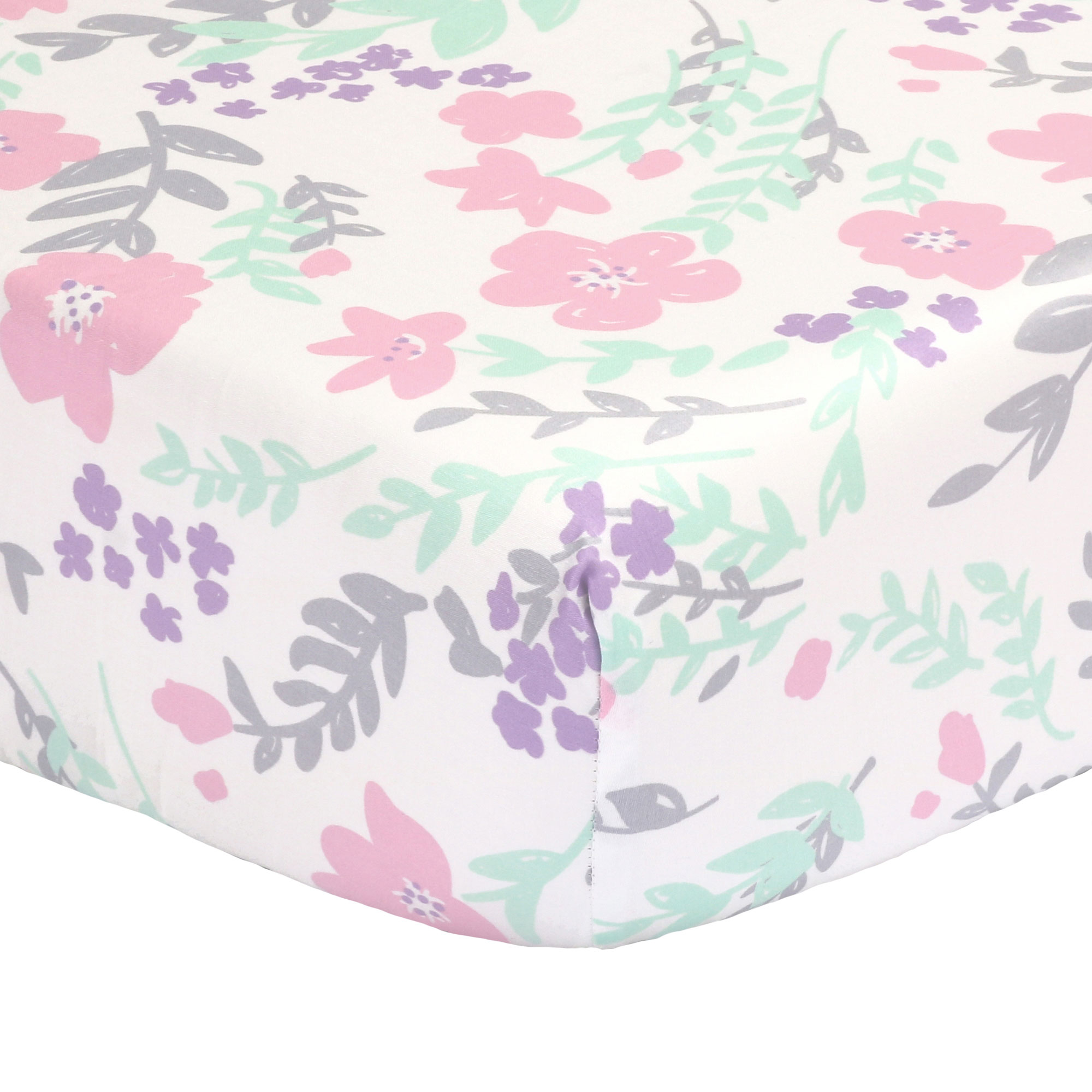 The Peanut Shell Baby Crib Fitted Sheet - Pink, Mint Green, Purple and Grey Floral - 100% Cotton Sateen, Fits Standard 52 by 28 Inch Mattress