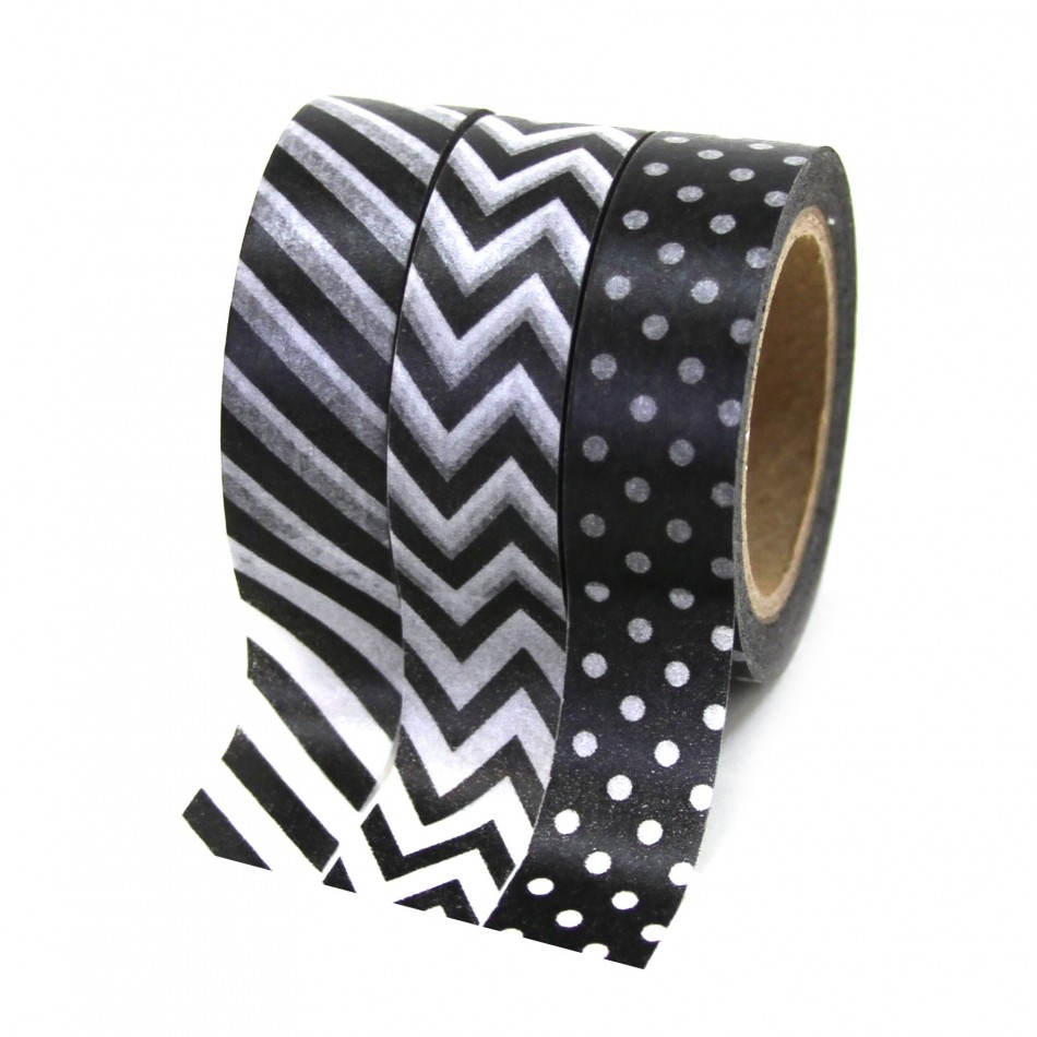 Dress My Cupcake Party Collection Washi Paper Tape, Black, Set of 3