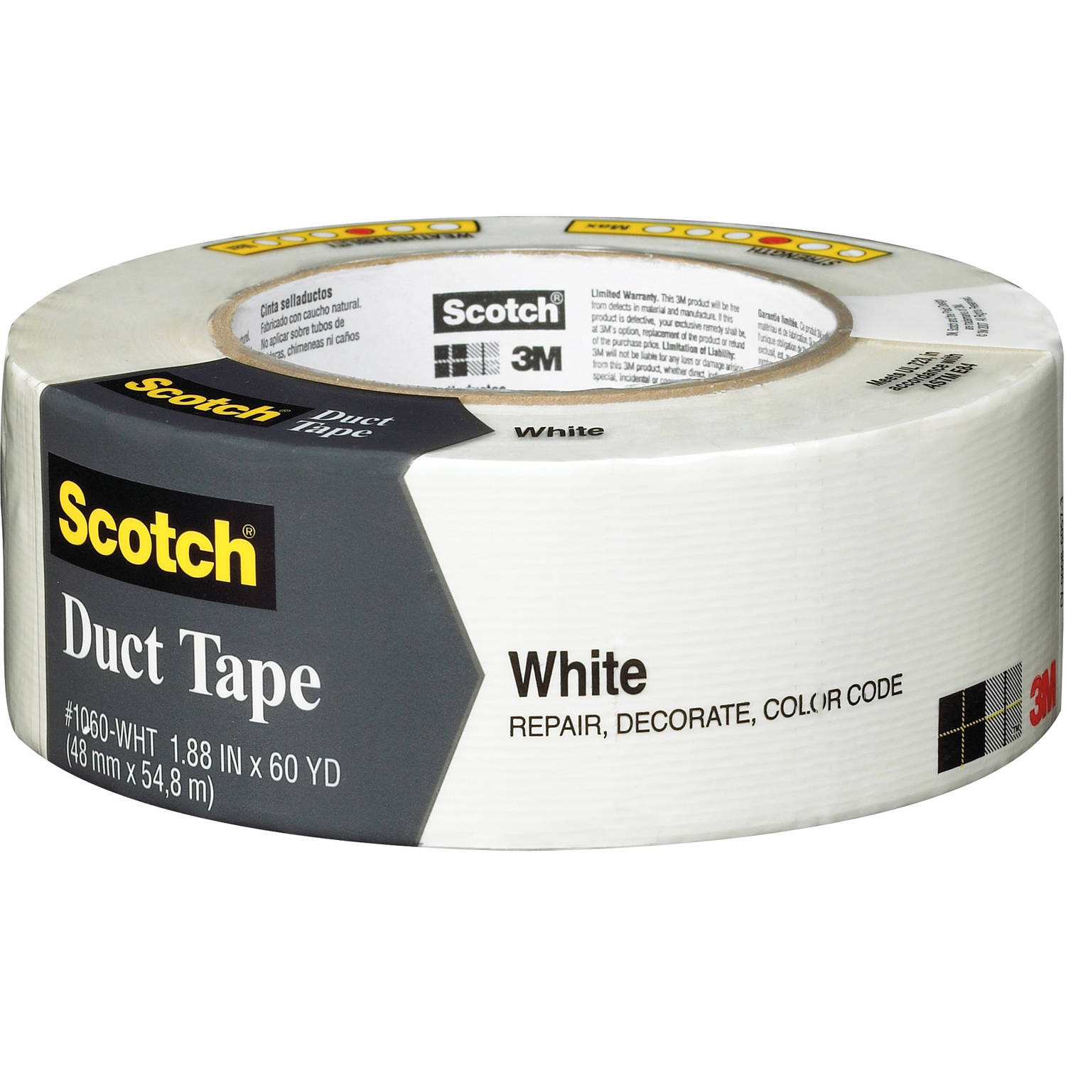 "Scotch 1060-WHT-A 1.88"" x 60 Yards White Duct Tape"