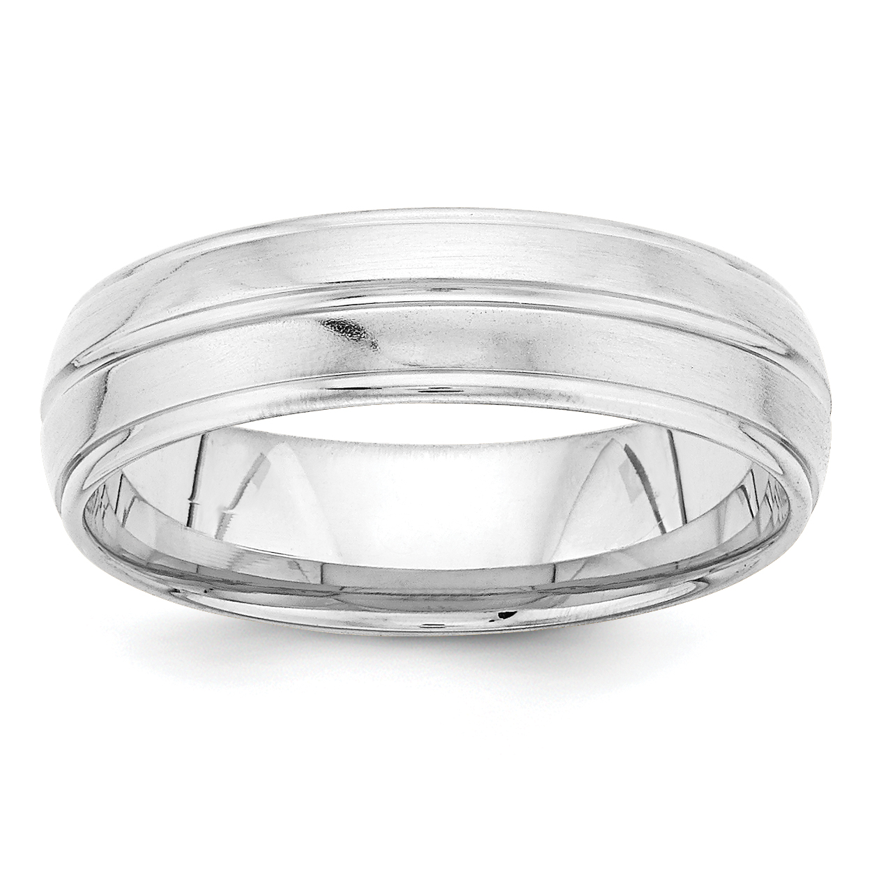 14K White Gold Standard Comfort Fit Fancy Band - image 2 de 2