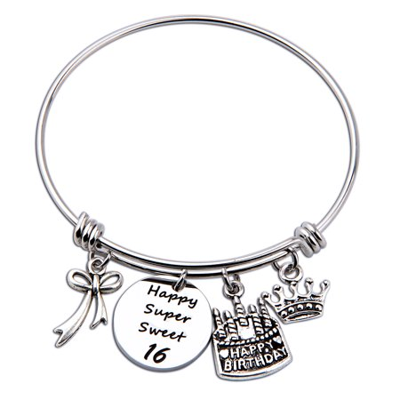 Birthday Gift for Her Adjustable Birthday Bracelet Bangle with Birthday Cake Charm, Sweet 16th Bangle gift,Anniversary Gift](Bangle Charm Bracelets)