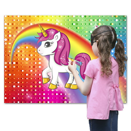 Pin the Horn on the Unicorn Party Favor Game for Kids, Includes: 24 Reusable Sticker Horns, Perfect for Large Parties, 2 Blindfolds, 10 Adhesive Glue Dots - Hunger Games Party Supplies Party City