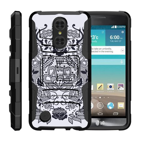 TurtleArmor ® | For LG LV3 | LG Aristo | LG K8 [Hyper Shock] Hybrid Dual Layer Armor Holster Belt Clip Case Kickstand - Lotus Flower