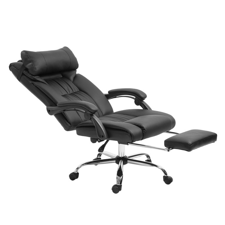 Belleze Executive Reclining Office Chair High Back Faux Leather Footrest  Armchair Recline W/ Backrest Pillow