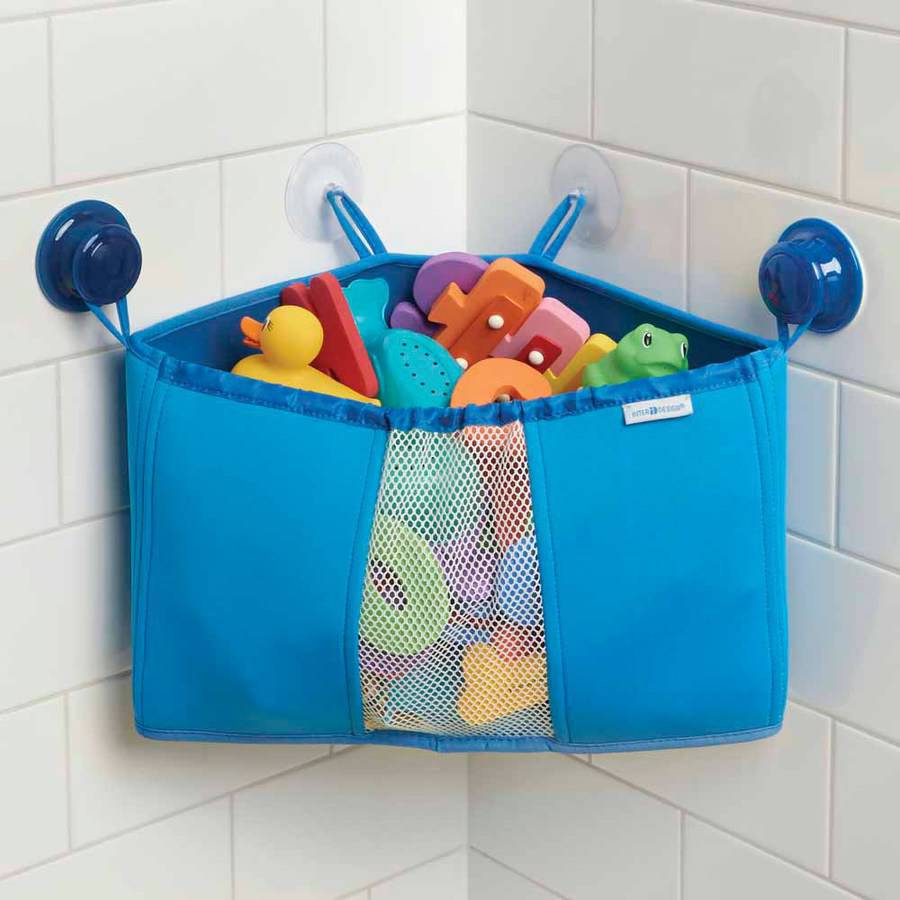 InterDesign Kids Neoprene Corner Bathroom Shower Caddy Basket, Baby Bath Toy Organizer, Blue