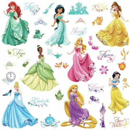 Disney Princess Royal Debut Wall Decals with Glitter Girls Room Stickers Decor