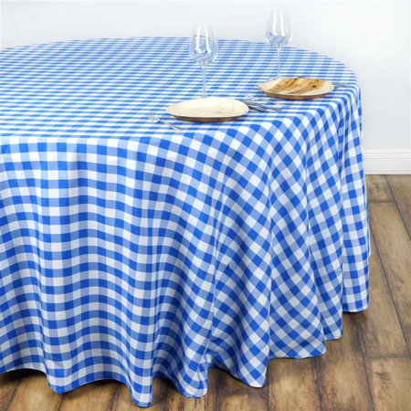 108 round blue white checkered wholesale gingham polyester linen tablecloth. Black Bedroom Furniture Sets. Home Design Ideas
